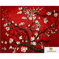 Клончета на  бадемово дърво с цветчета (червен) - Ван Гог