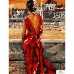 40x50 см.  Дама в червено - Обичам Будапеща - Emerico Imre Toth